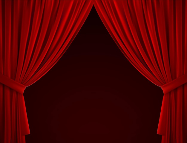 Theater or home interior decoration with red drape curtains