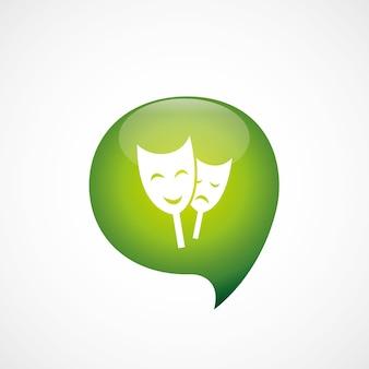 Зеленый значок театра думаю логотип символ пузыря, изолированные на белом фоне