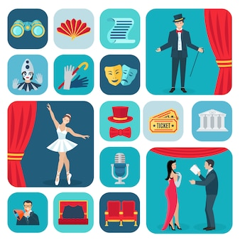 Theater icons flat set