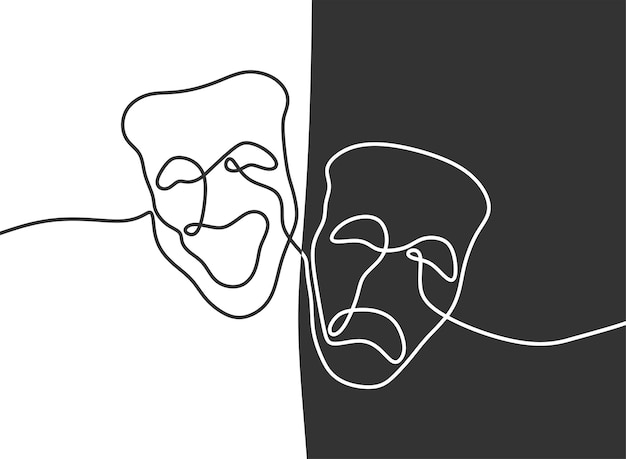 Theater mask tragedy and humor oneline continuous line art