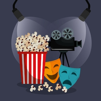 Theater masks cinematographic icons