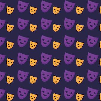 Theater masks pattern
