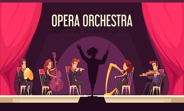 Theater opera orchestra onstage performance with violinist harpist fluitist musicians conductor red curtain flat composition