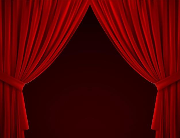 빨간색 드레이프 커튼이있는 극장 또는 홈 인테리어 장식