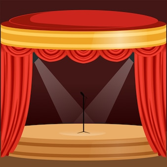 빨간 커튼, 조명 및 마이크가있는 극장 또는 음악 콘서트 현장이 중앙에 있습니다. 휘장과 pelmets 나무 무대입니다. 만화