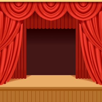 Theater scene with red curtain and dark scenery. stage with scarlet velvet drapery. background for event or performance poster.