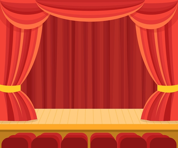 Theater scene with a red curtain for presentation.
