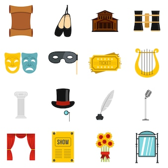 Theater set flat icons