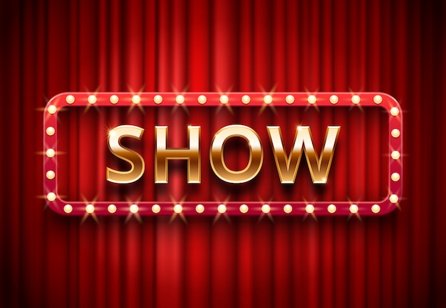 Theater show label, festive stage lights shows, golden text on red curtains  background