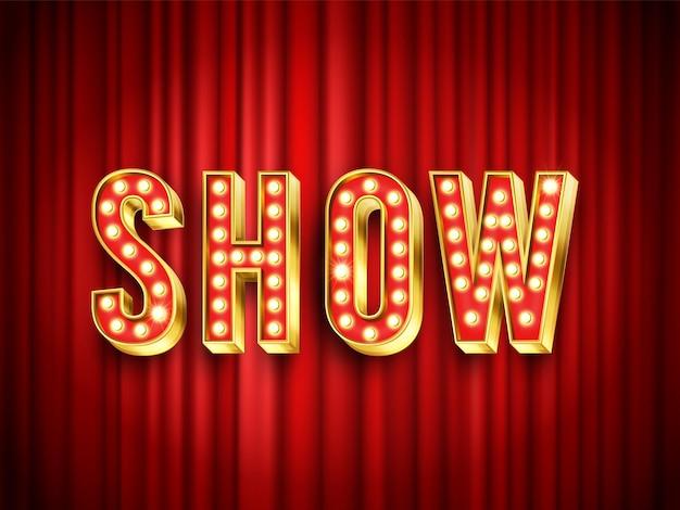 극장 쇼 레이블입니다. 무대용 빨간 커튼, 쇼 액션을 위한 휘장 극장, 벡터 일러스트레이션. 엔터테인먼트 및 공연 장면