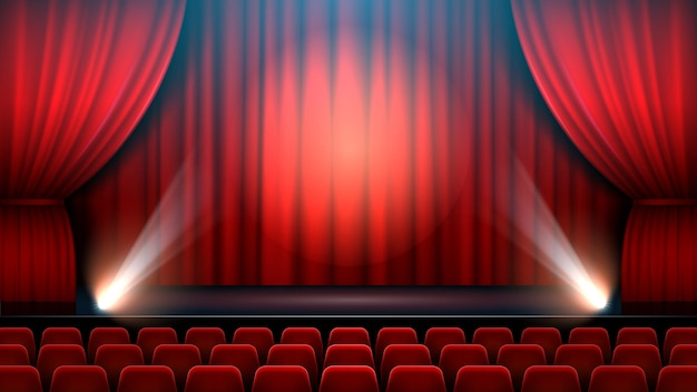 Theater show stage interior with red curtain, spotlight and theater chairs