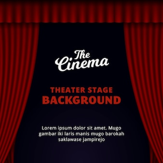 Theater stage background design. opened red curtain vector illustration.