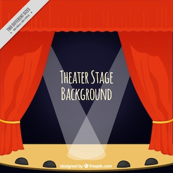 Theater stage background with curtains and spotlights