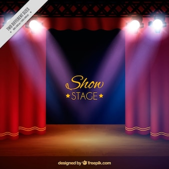 Theater stage background with spotlights in realistic style