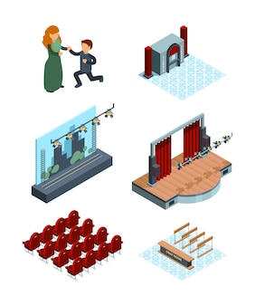 Theater stage decoration. isometric interior of opera or ballet hall theater seats actors red curtains  pictures
