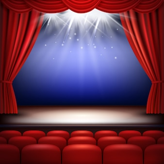 Theater stage. festive background audience movie opera light with red silk curtains and auditorium seats  realistic