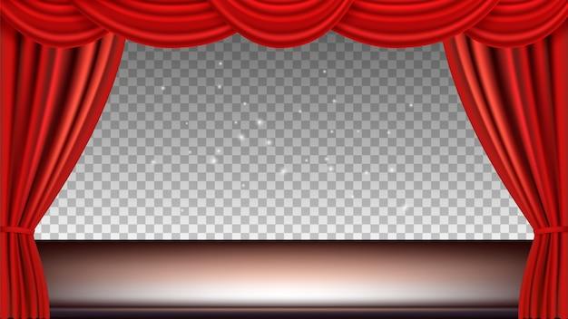 劇場ステージ。赤い絹のカーテンでお祭りの背景観客映画オペラライト。透明な背景に隔離されたリアルなカーテンとステージ。