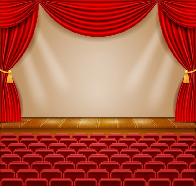 Theater stage in the hall with curtains and armchairs for the audience  illustration
