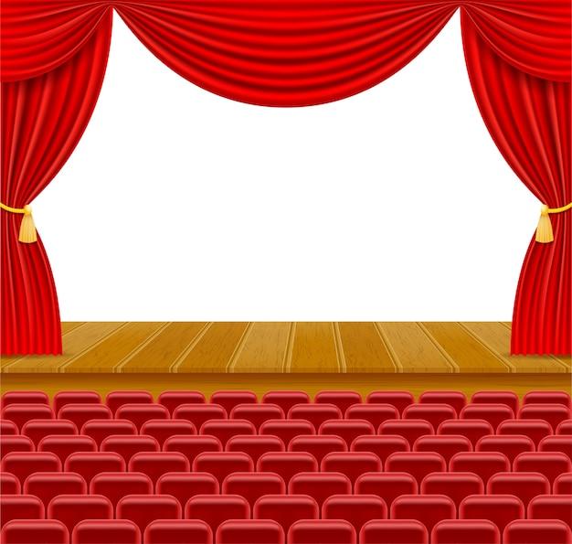 Театральная сцена в зале с занавесками и креслами для иллюстрации публики