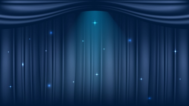 Theater stage on luxury blue curtains background