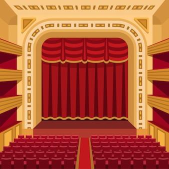Этап театра с развлечениями занавесов освещает иллюстрацию предпосылки представления оперы театральной сцены внутреннюю старую.