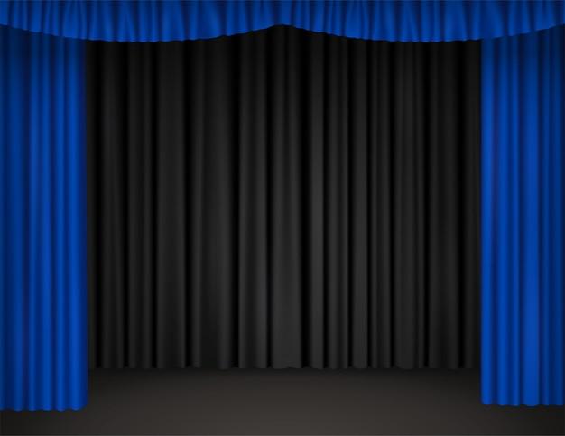 開いた青いカーテンと背景に黒いドレープがある劇場ステージ。ベルベットのカーテンで劇場、オペラ、映画館、サーカスの空のシーンのリアルなイラストをベクトルします。