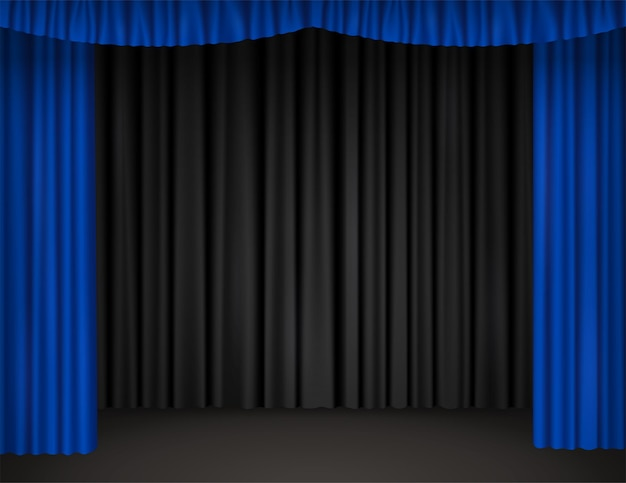 Theater stage with open blue curtains and black drapes on background. vector realistic illustration of empty scene of theatre, opera, cinema or circus with velvet drapery
