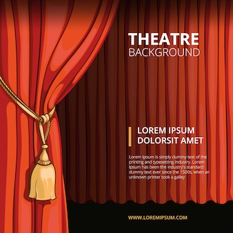 Theater stage with a red curtain. vintage in comic style. show performance concert, presentation cinema