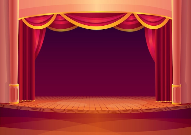 Сцена театра с красными занавесками и на свете. мультфильм интерьера театра с пустой деревянной сценой. шаблон торжественного открытия концерта.