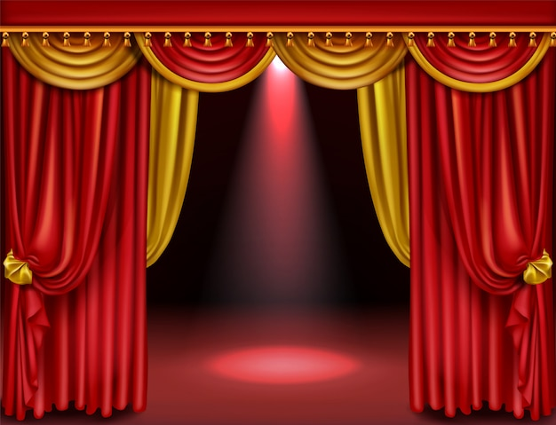 Theater stage with red and gold curtains