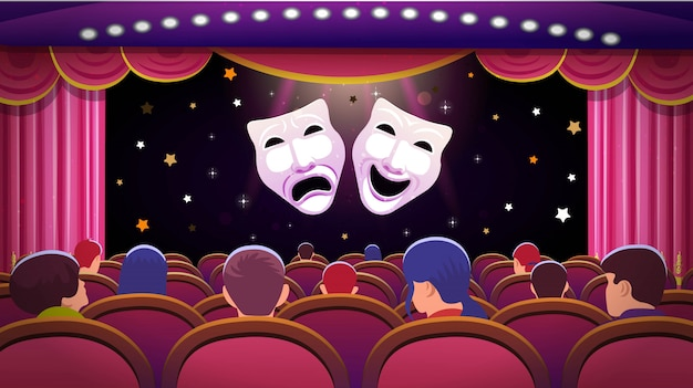 A theater stage with a red open curtain and red seats with people and comedy and tragedy theatre masks. vector template illustration