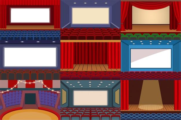 Театральная векторная театральная сцена и театральная опера - иллюстрация театрального набора интерьера кинотеатра и развлекательного шоу с занавесками, изолированных на белом