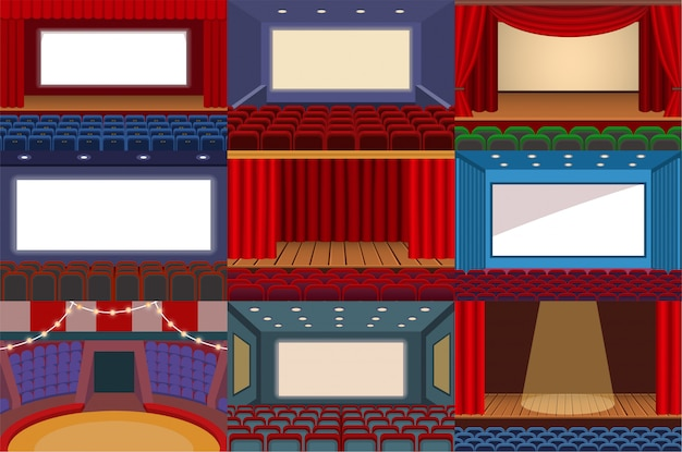 Theater vector theatre stage and theatrical opera performance illustration theatrically set of cinema interior and entertainment show with curtains isolated on white