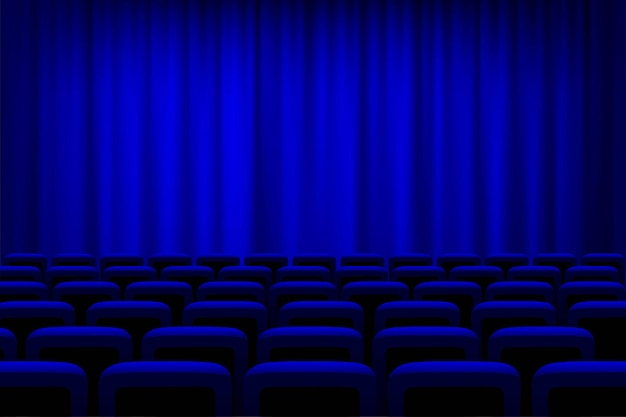 Theater with blue curtains and seats background, empty cinema auditorium.