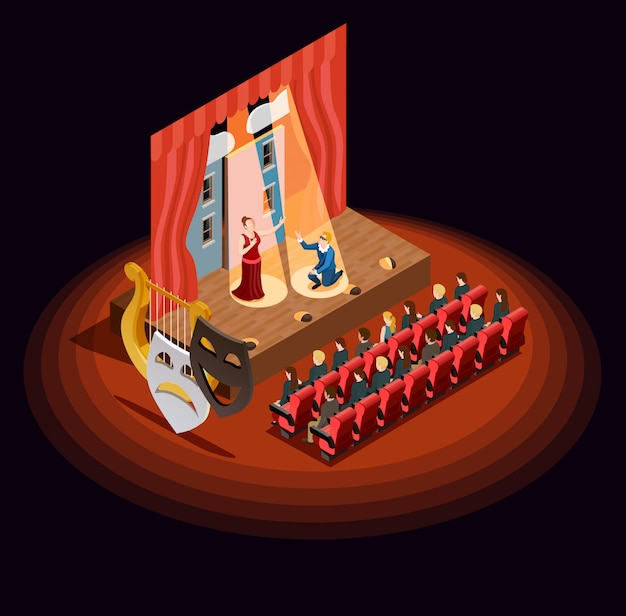 Theatre auditorium isometric composition