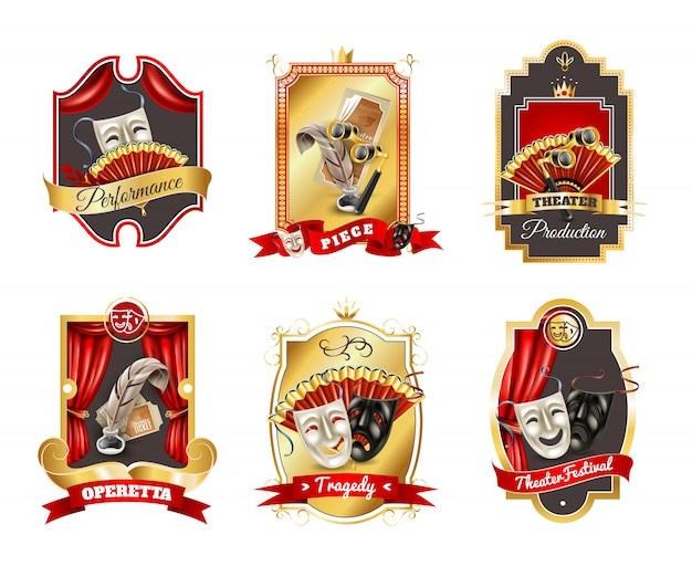 Theatre emblems set