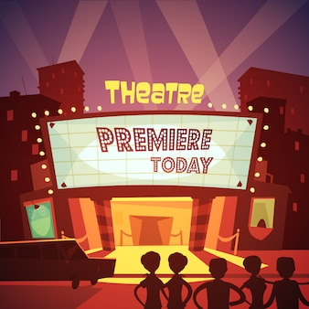 Theatre entrance cartoon illustration