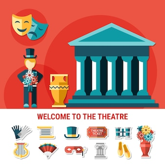Theatre flat colored composition with isolated icon set combined in welcome to theatre flyer vector illustration