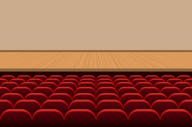 Theatre hall with rows of red seats and wooden stage illustration