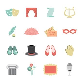 Theatre icon flat