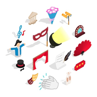 Theatre icons set , isometric 3d style