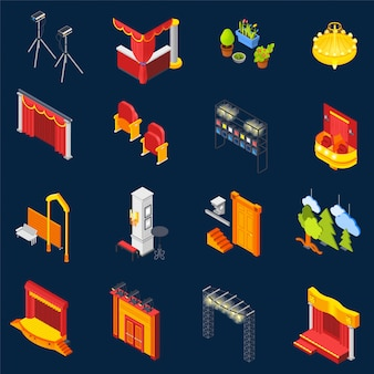 Theatre isometric icons set