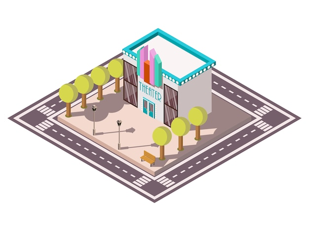 Theatre isometric illsutration