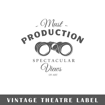 白い背景の上の劇場のラベル。素子。ロゴ、看板、ブランディングのテンプレートです。図