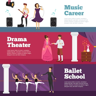 Theatre people banners set with ballet school and music career