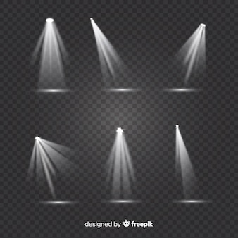 Theatre spotlight collection with transparent background