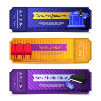 Theatre ticket horizontal banners set with ballet and music show symbols