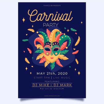 Theatrical mask hand drawn carnival party poster