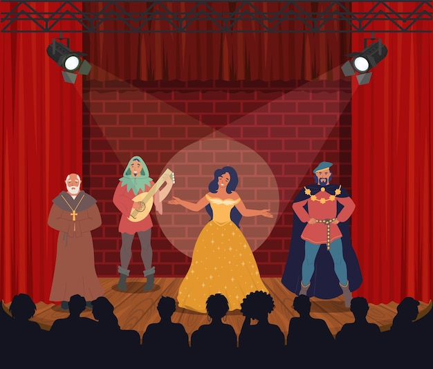 Theatrical performance actors performing on stage vector illustration comedy drama entertainment the...