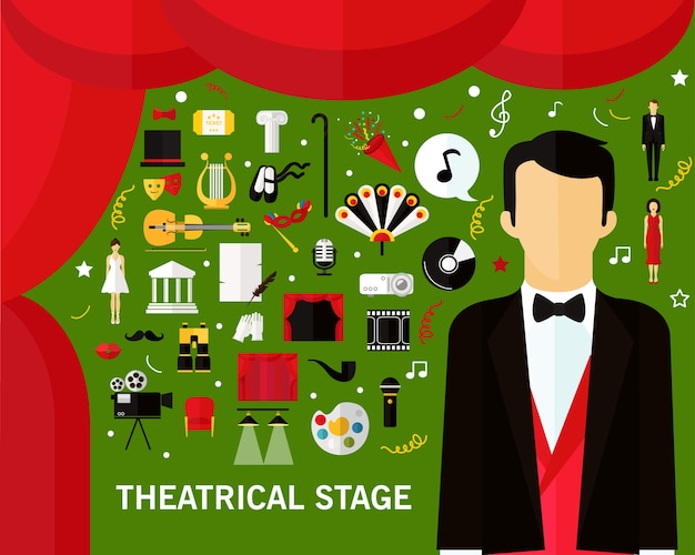 Theatrical stage concept background. flat icons.